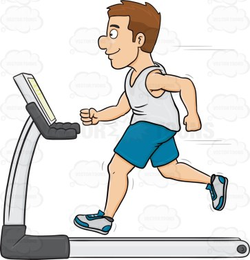 Cartoon image of a man with brown hair and wearing white sleeveless shirt paired with blue shorts and white rubber shoes with blue accent running and using a fitness machine